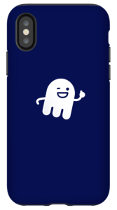 """NIX Platform navy cell phone case with """"Ghostie"""" design on the back."""