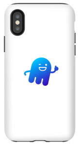 """NIX Platform white cell phone case with """"Ghostie"""" design on the back."""